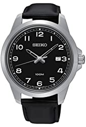 Seiko SUR159 Men's Stainless Steel Black Leather Strap Band Black Dial Watch