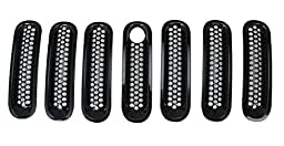 Black Front Grill Mesh Grille Insert with Key hole Fit Mopar Hood Lock for Jeep Wrangler Rubicon Sahara Jk 2007-2016 7PC