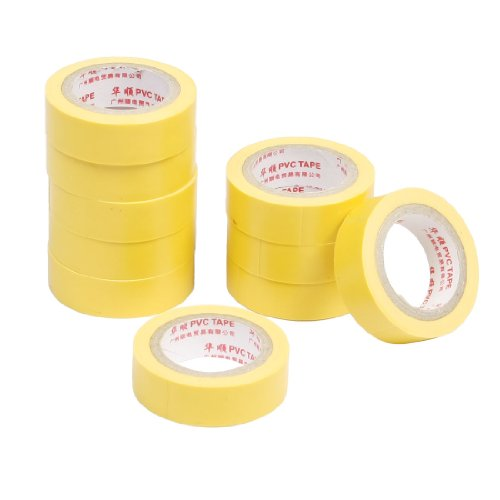 10 Pcs Yellow Self Adhesive Pvc Insulating Electrical Tape 14Mm Width