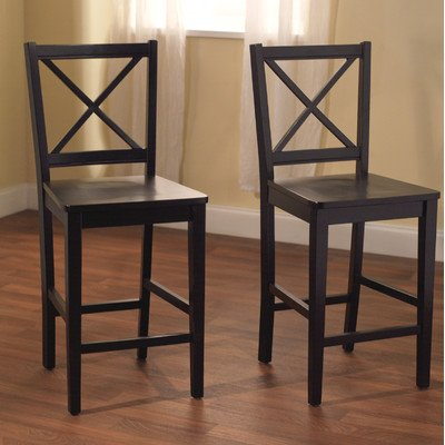Target Marketing Systems Set of 2 30-Inch Virginia Cross Back Stools, Set of 2, Black (Black Wood Bar Stools compare prices)