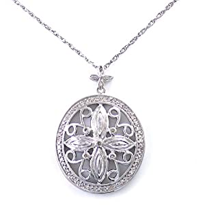 Sterling Silver Diamond Medallion Pendant Necklace (1/7 cttw)