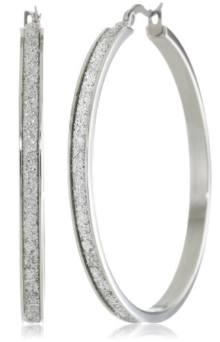 Stainless Steel Glitter Hoop Earrings (50mm Diameter)
