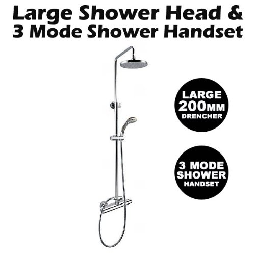 Round Thermostatic Shower with Rigid Riser