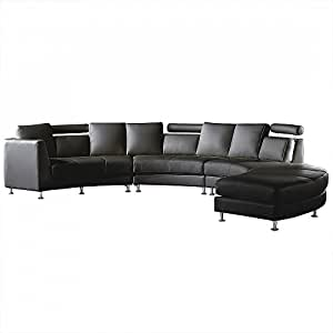 Round leather sofa sectional settee 7 seater in black for Amazon ca sectional sofa