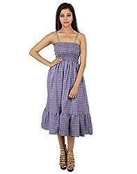 Handmade Polyester Geometric Dress Purple Printed Medium For Girl's By Rajrang