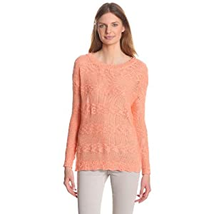 Design History Women's Slub Stripe Oversize Sweater, Cantalope, Small