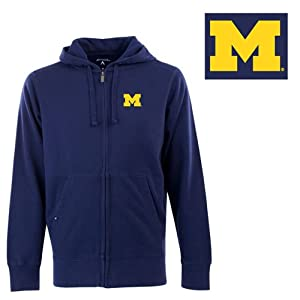 Michigan Signature Full Zip Hooded Sweatshirt (Team Color) - Small by Antigua