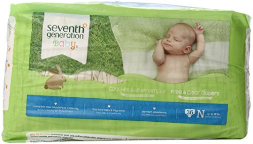 Seventh Generation Free & Clear Unbleached Diapers - Newborn - 36 ct - 1