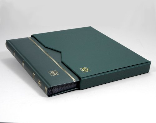 Lighthouse 32 Page Leather Stamp Stockbook with Matching Slipcase, Green