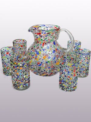 Mexican Blown Glass Pitcher And  Drinking Glasses Confetti Rocks