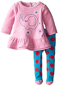 Gerber Baby and Little Girls 2 Piece Embroidered Micro Fleece Dress with Tights