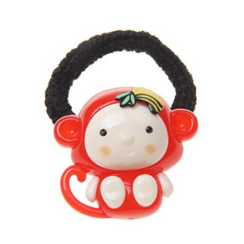 Zubehör für Haarfrisuren - für Frauen - Mädchen - Affe Muster - 5mm - verschiedene Farben - elastische Haargummis - Bänder - Pferdeschwanzhalter - Stirnband - Zopfband - Rot