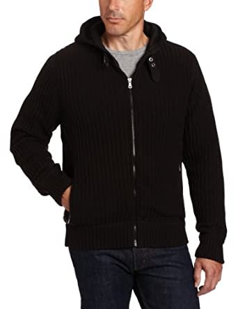 Calvin Klein Jeans Men's Airforce Hooded Full Zip Sweater, Black, X-Large
