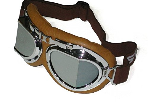 Vintage Aviator Style Split Lens Motorcycle Goggles - Brown Padding - Chrome Frame - Mirror Lens 1