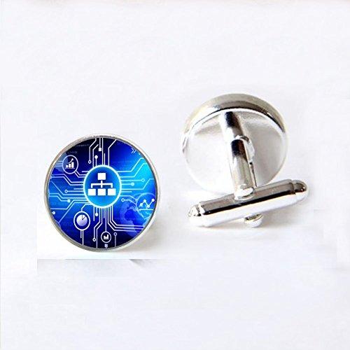 Computer Blue Circuit Board picture Cufflinks Computer Geek Cuff links Nerd Accessories Geek Gift