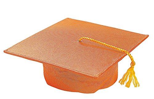 "Child's Orange Mortar Board Hat (20"" Circ.) Graduation Mortarboard Cap. - 1"