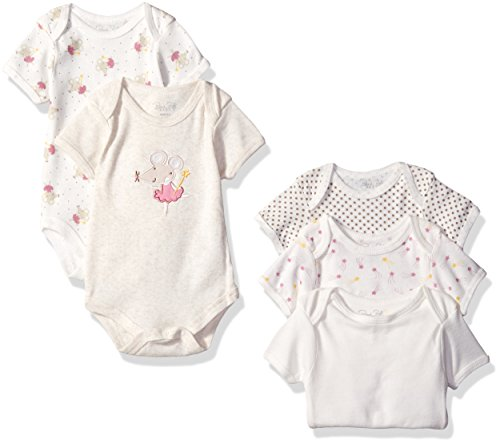 Rene Rofe Baby Girls' Shortsleeve Lap Shoulder Bodysuit 5 Piece Set, Natural Pretty Mouse, 6-9 Months
