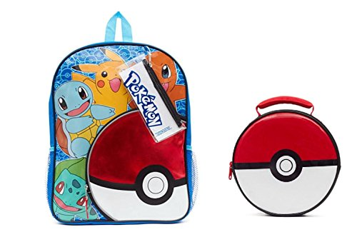 Pokemon Pokeball Backpack & Lunch Bag with Pencil Case and Sticker Sheet