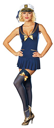 [GTH Women's Seaside Pinup Sailor Outfit Fancy Dress Sexy Costume, M (6-10)] (Holiday Pin Up Costumes)