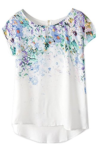 Yisqzjzj Print Short Sleeve Casual Top Blouse White High QualityLarge