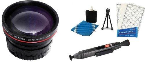 58Mm 2X Telephoto Hd Zoom Lens + Lens Pen Kit + Mini Tripod + Lcd Screen Protectors + Camera Cleaning Kit For Canon Eos Rebel Xt Xti Xsi T1I T2I T3I T3 20D 5D 300D 350D 450D 400D 10D T2 T1 40D 50D 60D 1000D 550D That Use Canon Lenses (18-55Mm, 75-300Mm, 5