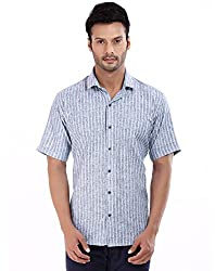 baaamboos Formal Shirts Rich Linen HRL0305 (Navy Blue, 44)