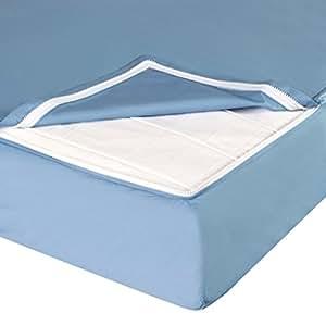 QuickZip Cotton Crib Sheet, 1 Zip-On Sheet + 1 Drop-in Base, Blue