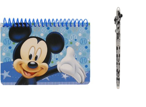Disney Mickey Mouse Spiral Autograph Book Light Blue and 1 Beatiful Pen - 1