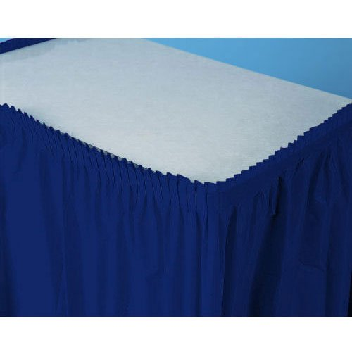 "Amscan Pleated Plastic Table Skirt in Solid Color Design, 14' x 29"", Navy Flag Blue"