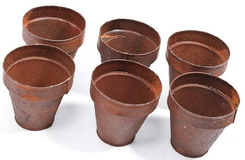 2 75 high Rusted Metal Miniature Flower Pots 12 Total Mini Pots For Fairy Gardens Party Favors and More
