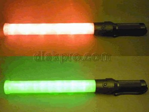 Traffic Safety Led Baton Light, 6 Red Led With 6 Green Led, 21.5 Inch Length, Using 2 D-Size Battery (Not Included)