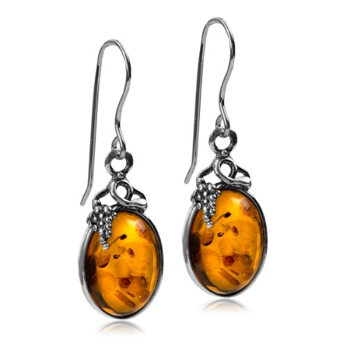 Certifed Genuine Amber Sterling Silver Classic Small Grape Leaves Hook Earrings