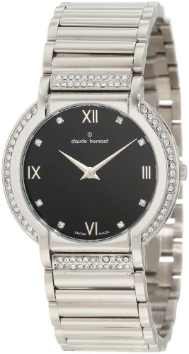 Claude Bernard Women's 20080 3P NP Classic Ladies Black Dial Crystal Watch