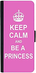 Snoogg Keep Calm Princess Graphic Snap On Hard Back Leather + Pc Flip Cover S...