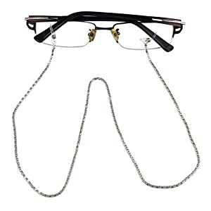 SWT Silver Reading Glasses Spectacles Sunglasses Metal 56cm Long Chain Neck Cord Strap