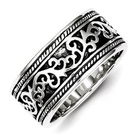 Genuine IceCarats Designer Jewelry Gift Sterling Silver Antiqued Band Size 10.00