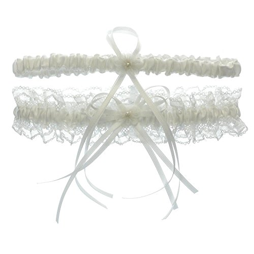 DivaDesigns Lace Ruffle Faux Pearl Chiffon Floral Ribbon Wedding Garter with Toss Away White