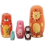 "5pcs Nesting Doll Handmade Wooden Cute Cartoon Animals Pattern 6"""