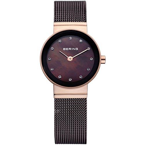 Bering Time  Classic - Reloj de cuarzo para mujer, con correa de acero inoxidable, color marrón