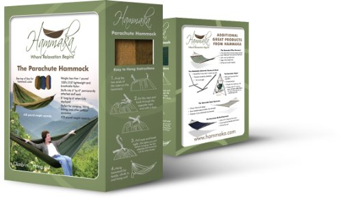 Hammaka Parachute Nylon Portable Double Hammock, Army Green / Brown