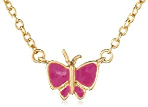 Little Miss Twin Stars Girls' 14K Gold Plated Hot Pink Butterfly Chain Necklace, 14""