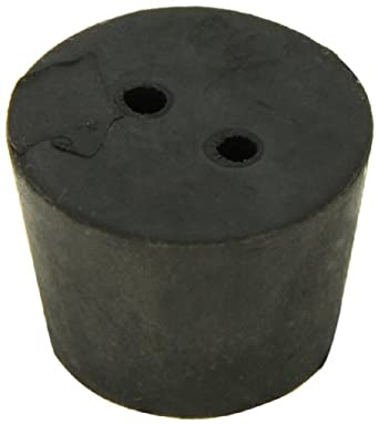 American Educational Imported Black Rubber Stopper with 2-Hole, 34mm Top Diameter, 27mm Bottom Diameter, 6.5 Size, 25mm Length (5 lb Bag)