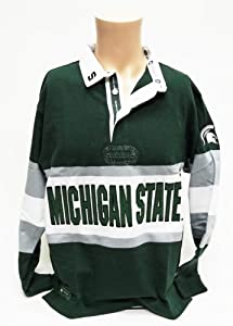 NCAA Michigan State Spartans Mens Panel Rugby Shirt, Green White Gray, Large by Donegal Bay