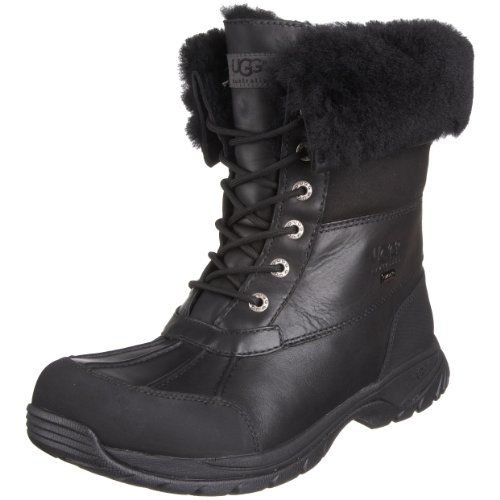 ugg mens butte black leather snow boots size 15 overview