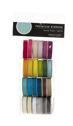 Cheapest Price! American Crafts Solid Satin Ribbon Value Pack 24 1-Yard Spools, Color Set 1
