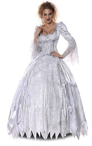 Halloween 2017 Disney Costumes Plus Size & Standard Women's Costume Characters - Women's Costume Characters Women's Plus Size White Queen Halloween Costume Alice in Wonderland Role Play Deluxe Dress White/Grey