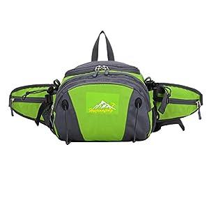 Smarstar Bolso Riñonera Deportiva Impermeable y Resistente Para Senderismo Ciclismo Con Bolsillos Doble Cremallera--Color verde