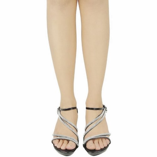 JJF Shoes AG Black Crystal Flower Rhinestone Evening Dress Ankle Strappy Low Heel Sandals-7