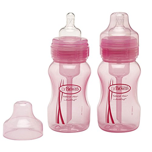 Dr Brown's 8 Ounce Wide Bottles Pink, 2pac - 1