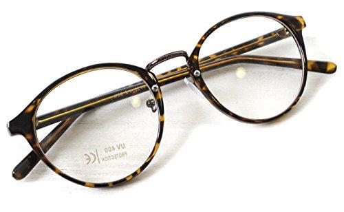 (RAKUGAKI) 伊達メガネ おしゃれ 丸めがね 黒縁 ボストン サングラス デミブラウン